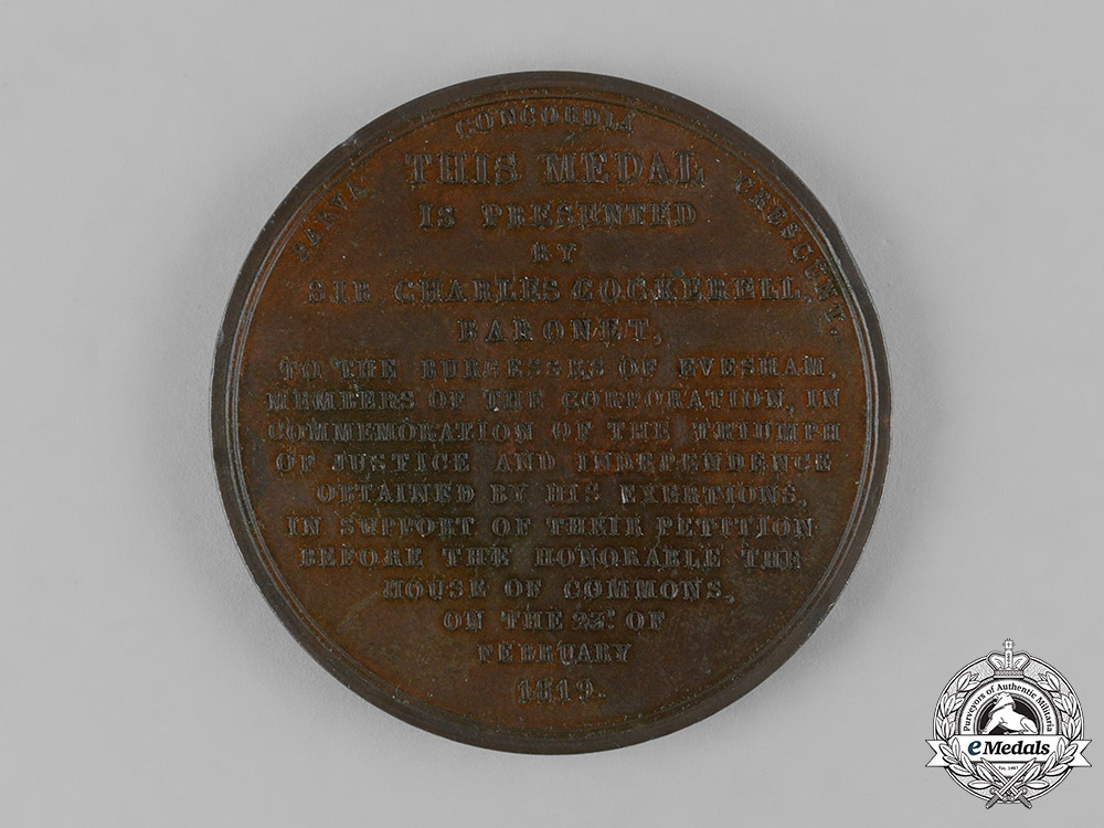 United Kingdom. A Cockerall Election Vindication Medal, 1819, by Suffield, engr.