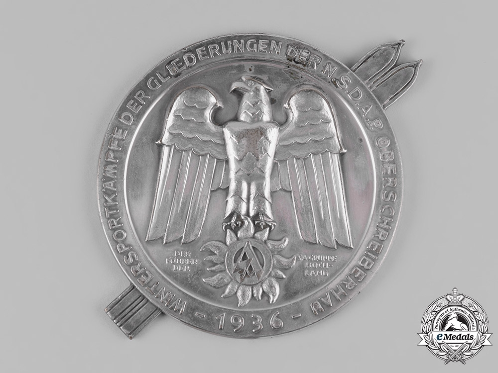Germany, SA. 1936 Sturmabteilung Oberschreiberhau (SA) Winter Sports Games Table Medal Dedicated to Standartenführer Kuhn, by Carl Poellath