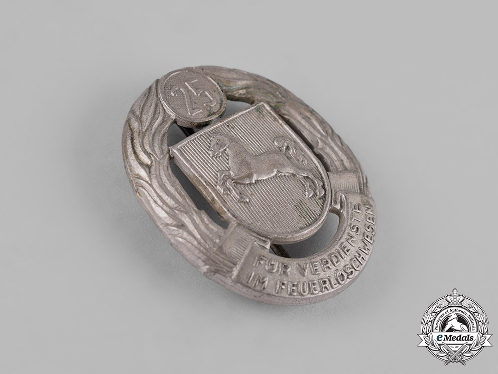 Germany, Federal Republic. A Lower Saxony Fire Brigade 25-Year Long Service Badge