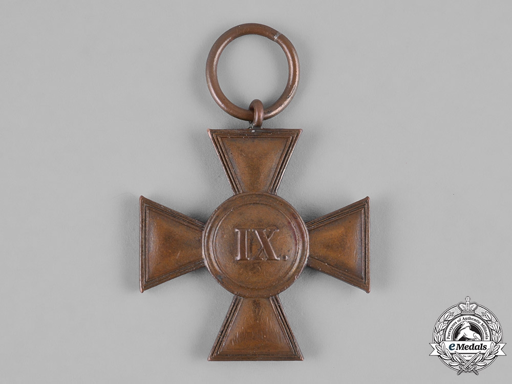 Mecklenburg-Schwerin, Grand Duchy. A 9-Year Long Military Service Cross, c.1900