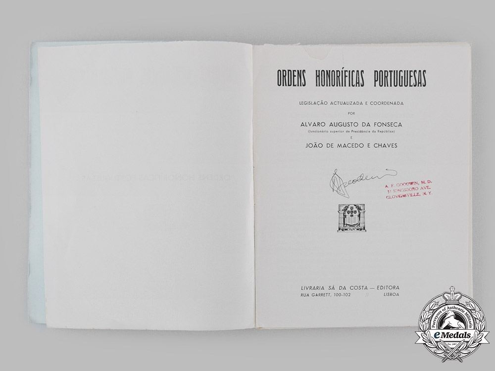 Portugal, Republic. Ordens Honoríficas Portuguesas, by A. Fonseca and J. Macedo, c. 1945