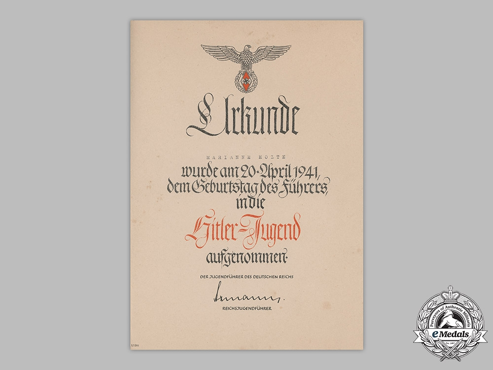 Germany, HJ. A 1941 Induction Certificate to Marianne Holte