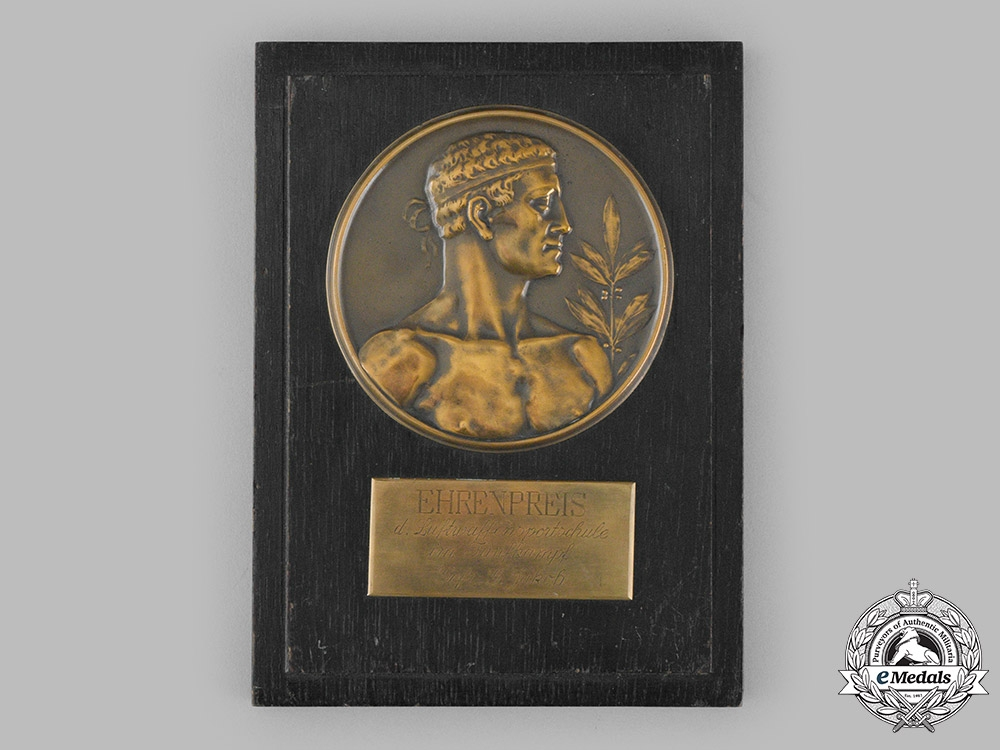 Germany, Luftwaffe. A Large Sports School Pentathlon Honour Plaque to Gefreiter G. Jakob