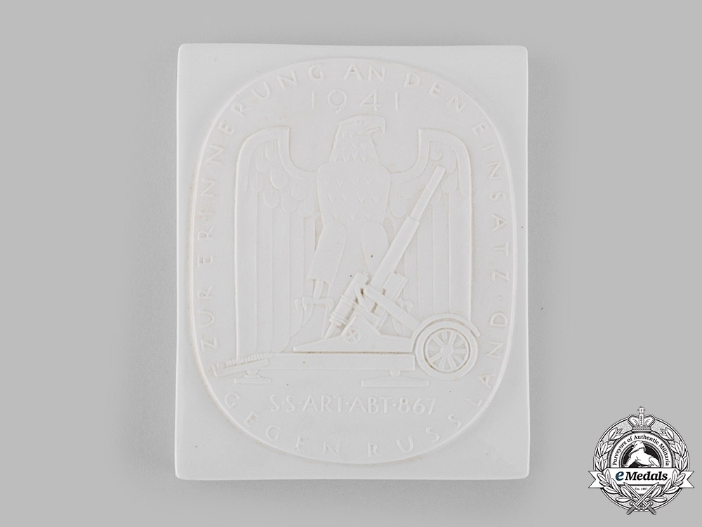 Germany, SS. A Rare Waffen-SS Artillerie-Abteilung 867 Russian Campaign Plaque, with Case