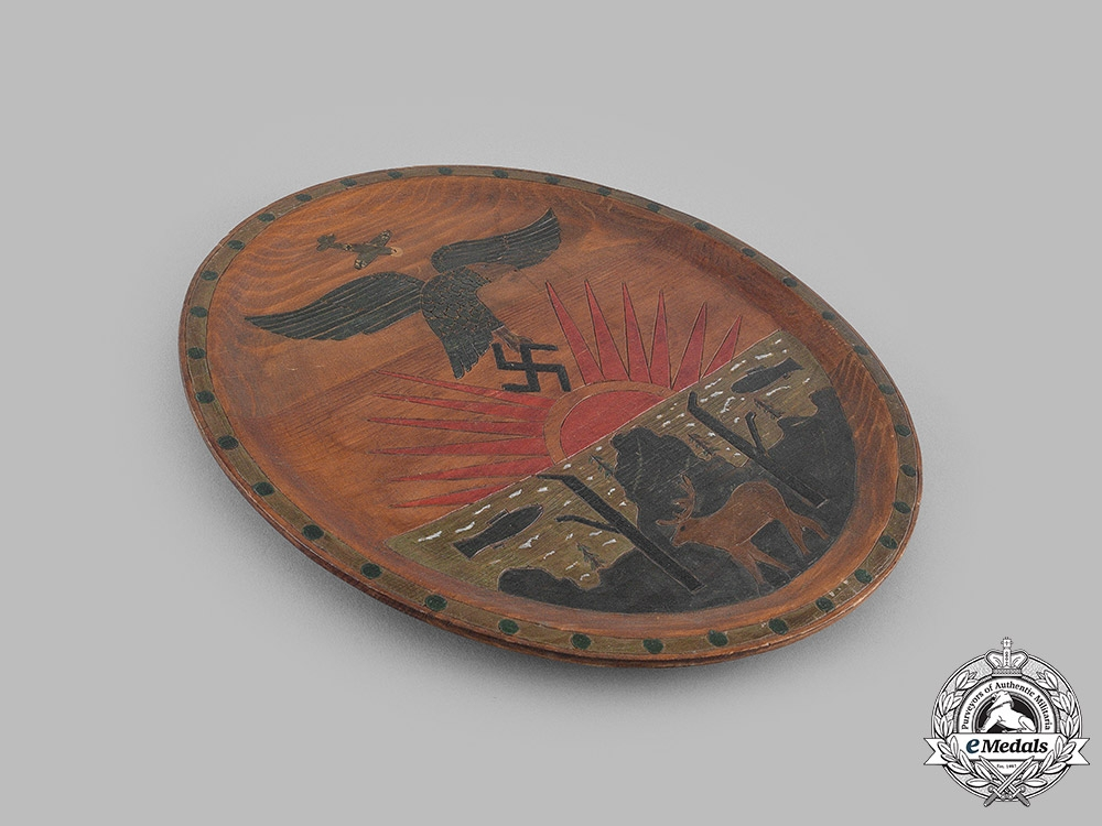 Germany, Luftwaffe. A Commemorative Wooden Plate, c.1940