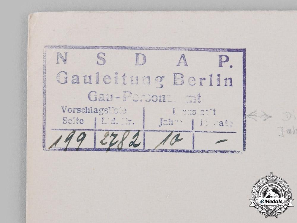 Germany, NSDAP. A 1942 Award Certificate for a NSDAP Long Service Award, 1942