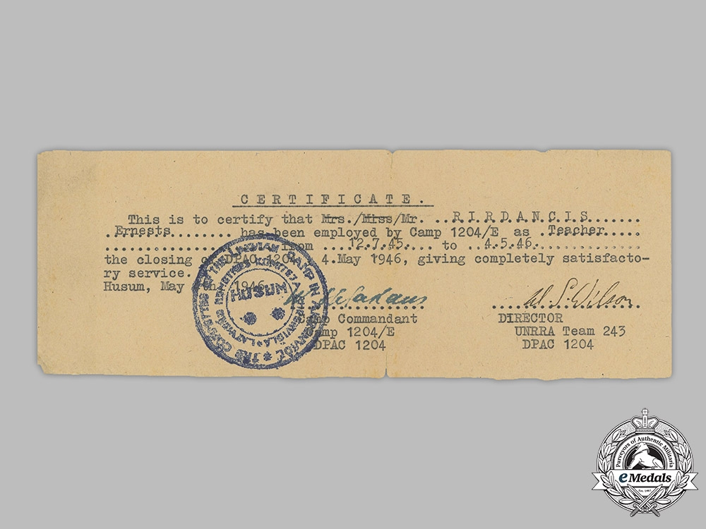 Latvia.  Documents To Latvian Wartime German Collaborator And Post War Refugee Ernests Rirdancis
