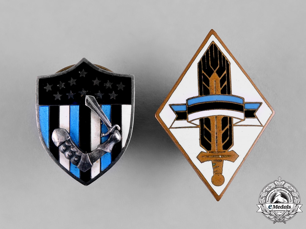 Estonia, Republic. A Pair of Patriotic Badges, by Roman Tavast