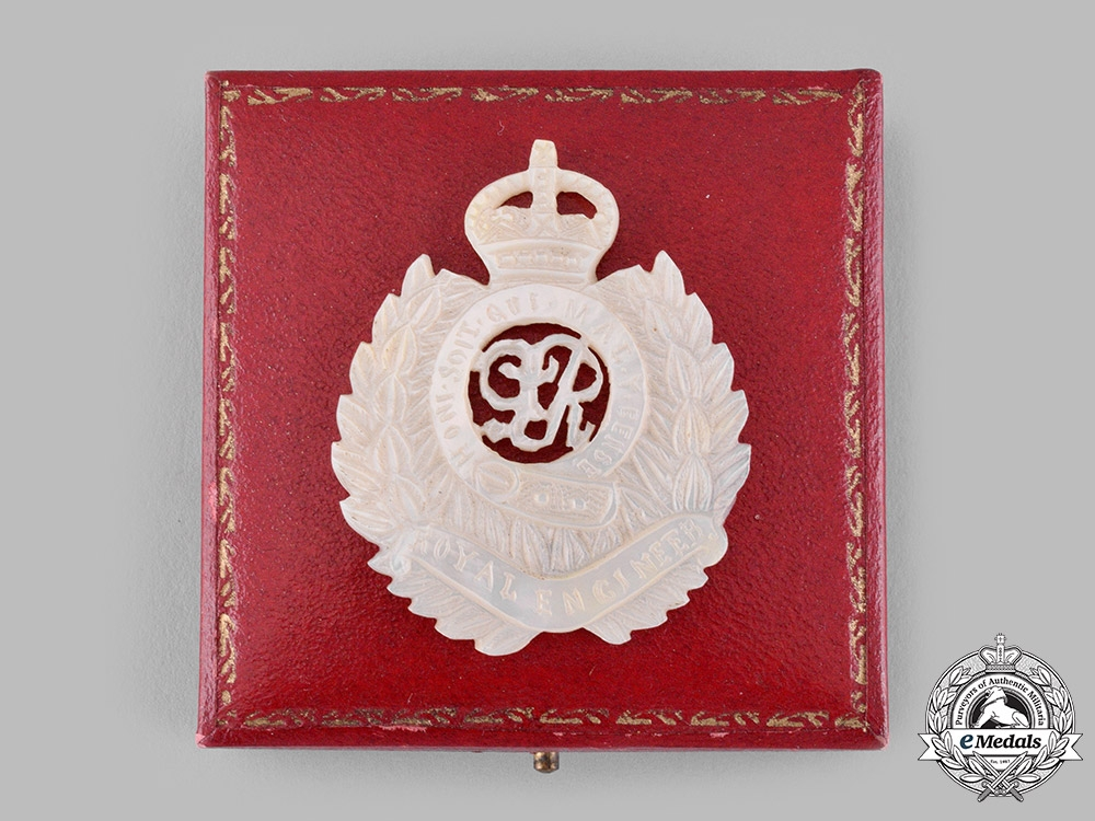 United Kingdom. A Mother of Pearl Royal Engineers Sweetheart Brooch