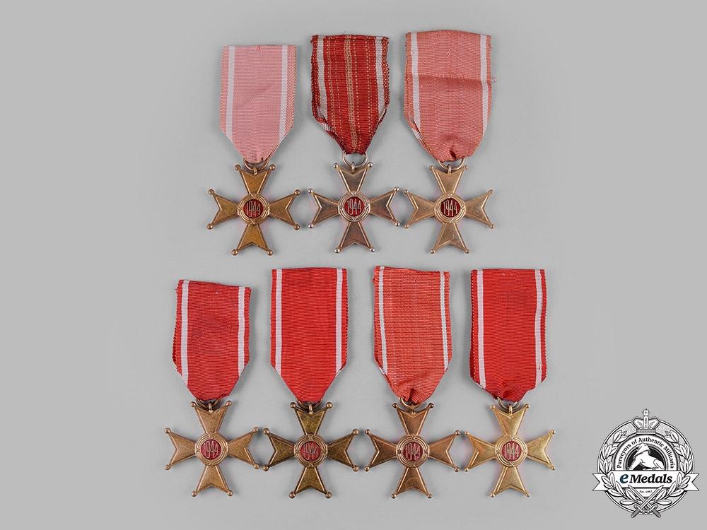 Poland, People's Republic. A Lot of Seven Order of Polonia Restituta, V Class Member Badges