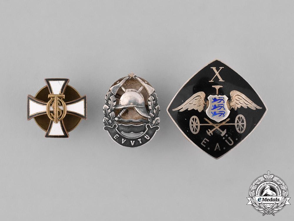 Estonia, Republic. A Lot of Three Lapel Badges