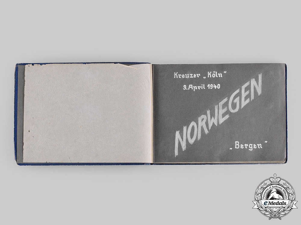 """Germany, Kriegsmarine. An Extensive Wartime Photo Album & Documents Of Sailor Of Cruiser """"Köln"""", Attack On Norway"""