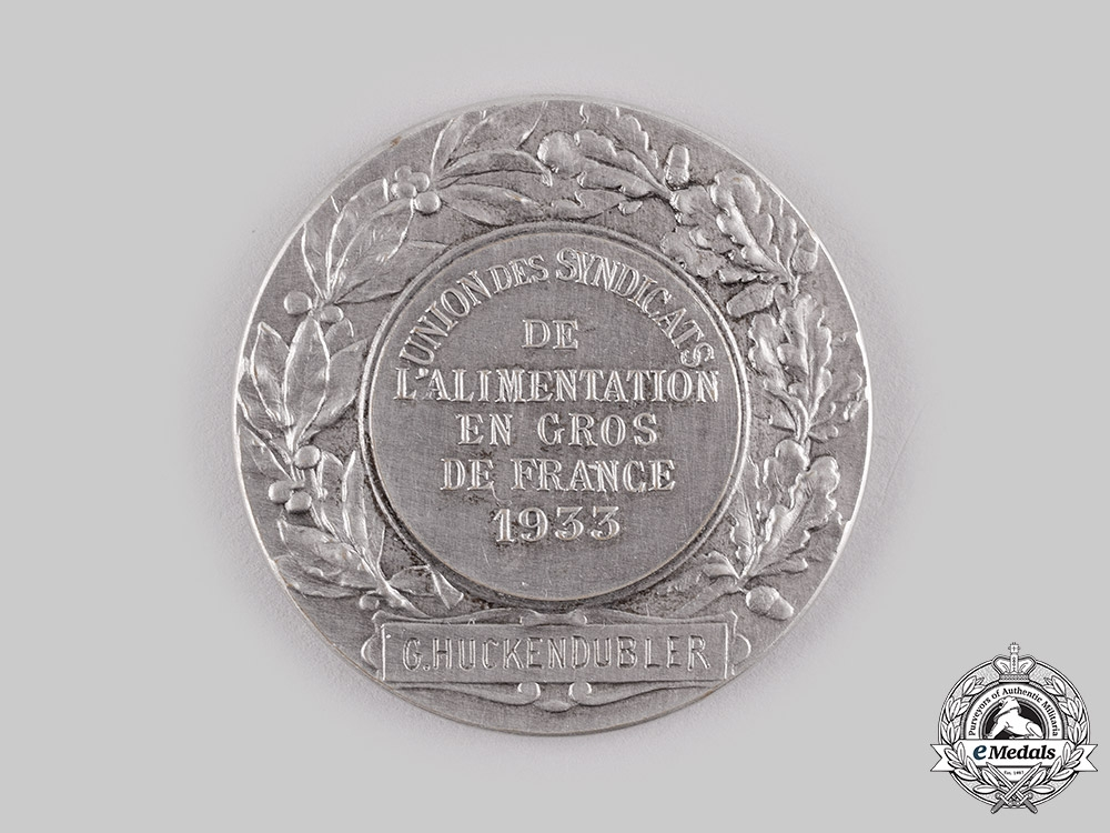 France, III Republic. Wholesale Food Trade Unions of France Medal 1933