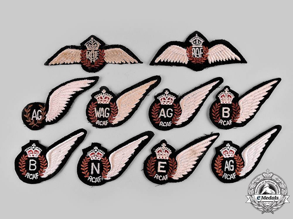 Canada, United Kingdom. A Lot of Nine King's Crown Royal Canadian Air Force (RCAF)/Royal Air Force (RAF) Badges
