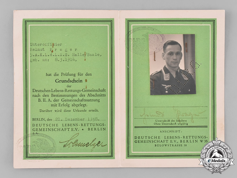 Germany, DLRV. A Life Saving Association (DLRV) Certification to Luftwaffe Unteroffizer Helmut Prager
