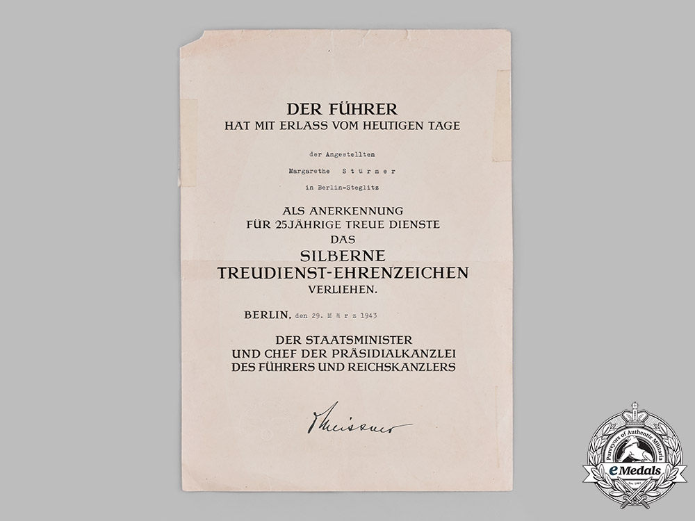 Germany, Third Reich. An Award Certificate for a Civil Service Faithful Service Medal in Silver to Margarethe Stürmer