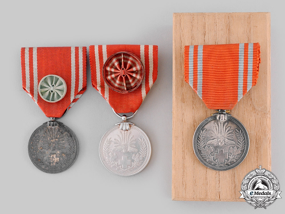 Japan, Empire. Three Red Cross Society Medals