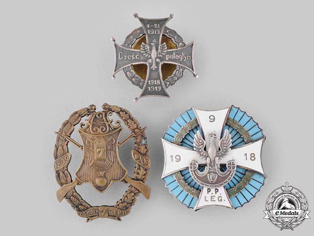 Poland, People's Republic; Russia, Imperial. Three Regimental Badges