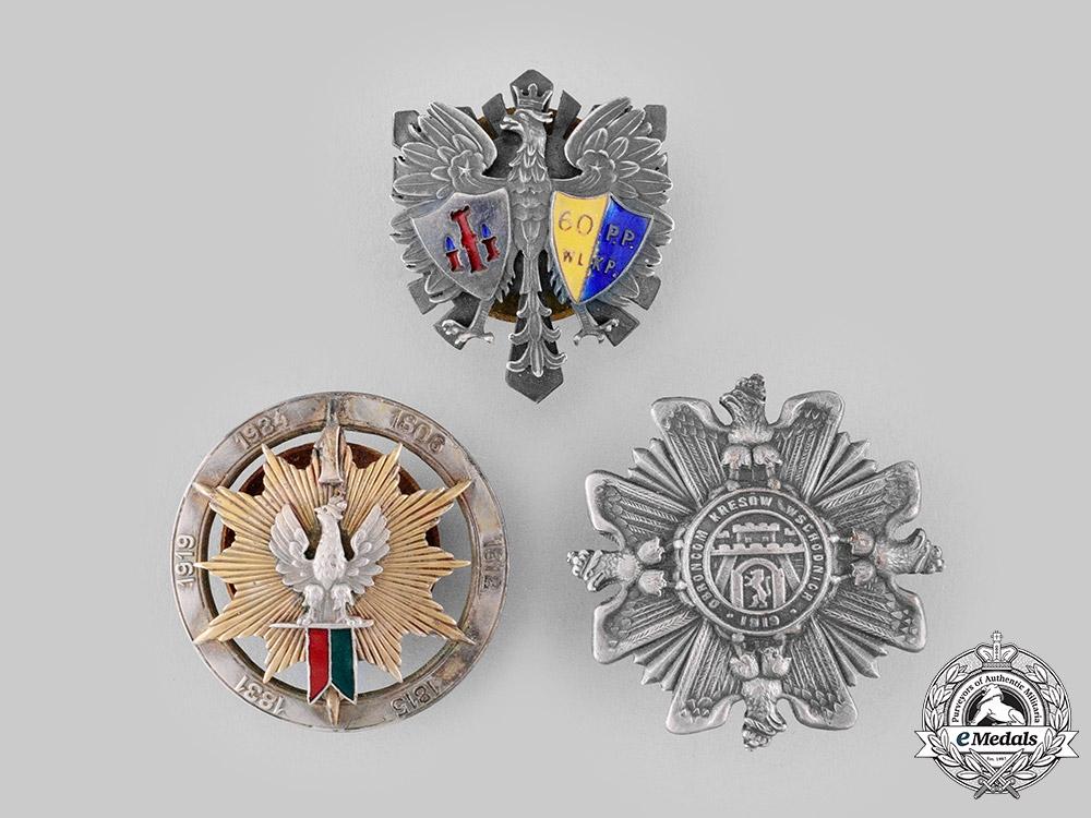 Poland, People's Republic. Three Post-1945 Manufactured Regimental Badges