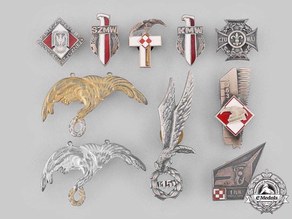 Poland, People's Republic. Ten Post-1945 Manufactured Regimental Badges