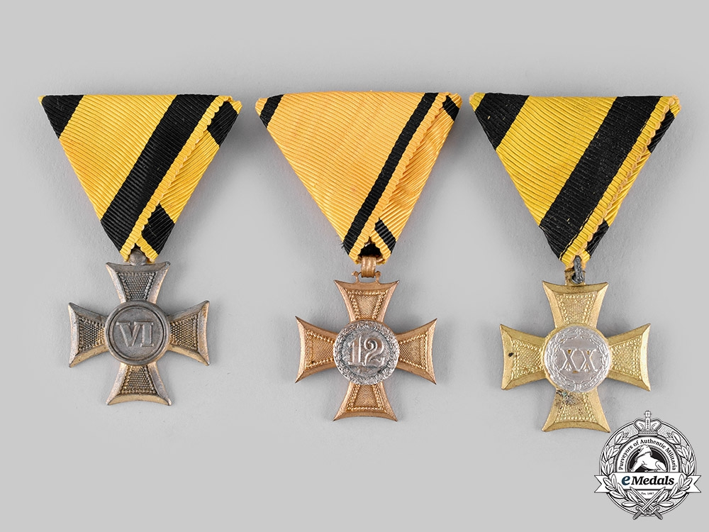 Austria, Imperial. A Lot of Three Long Military Service Crosses (Collectors Copies)