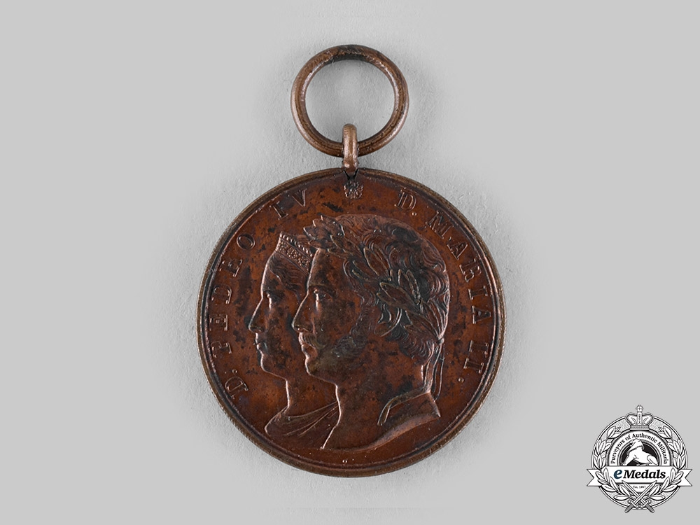 Portugal, Restoration. A Medal of Pedro and Maria, Bronze Medal c.1825