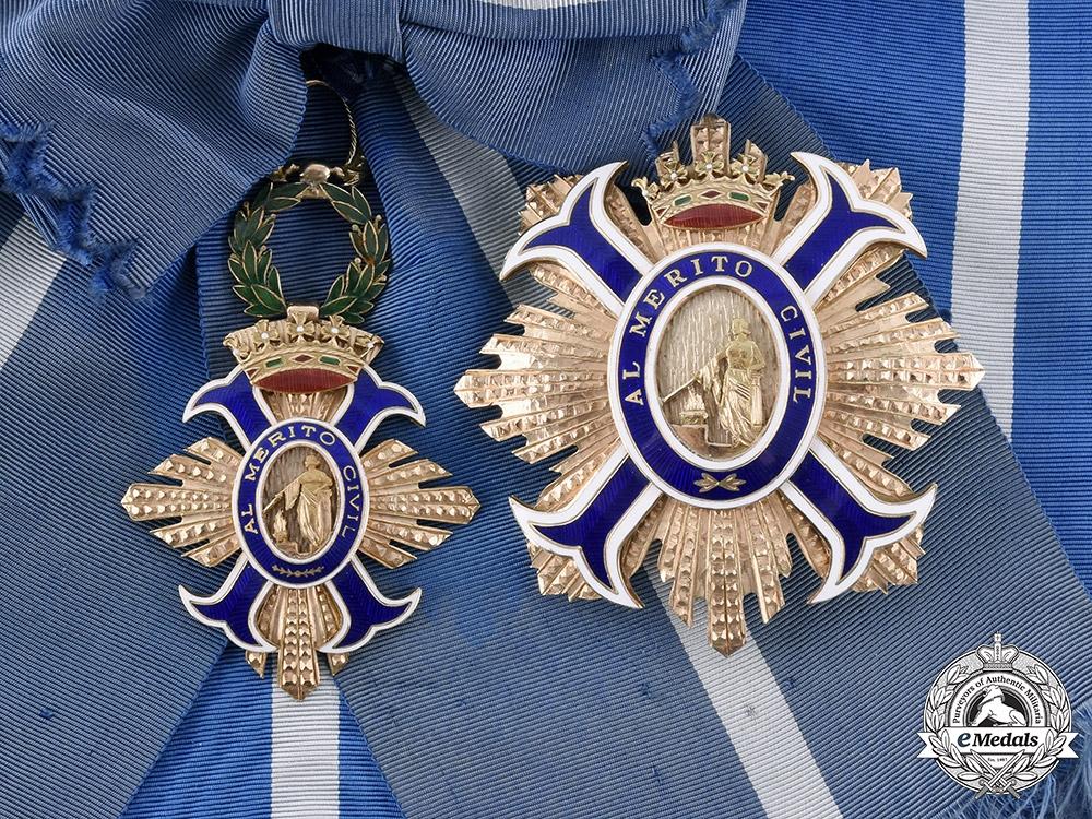 Spain, Fascist State. An Order of Civil Merit in Gold, Grand Cross, by Villanueva & Laiseca, 1973