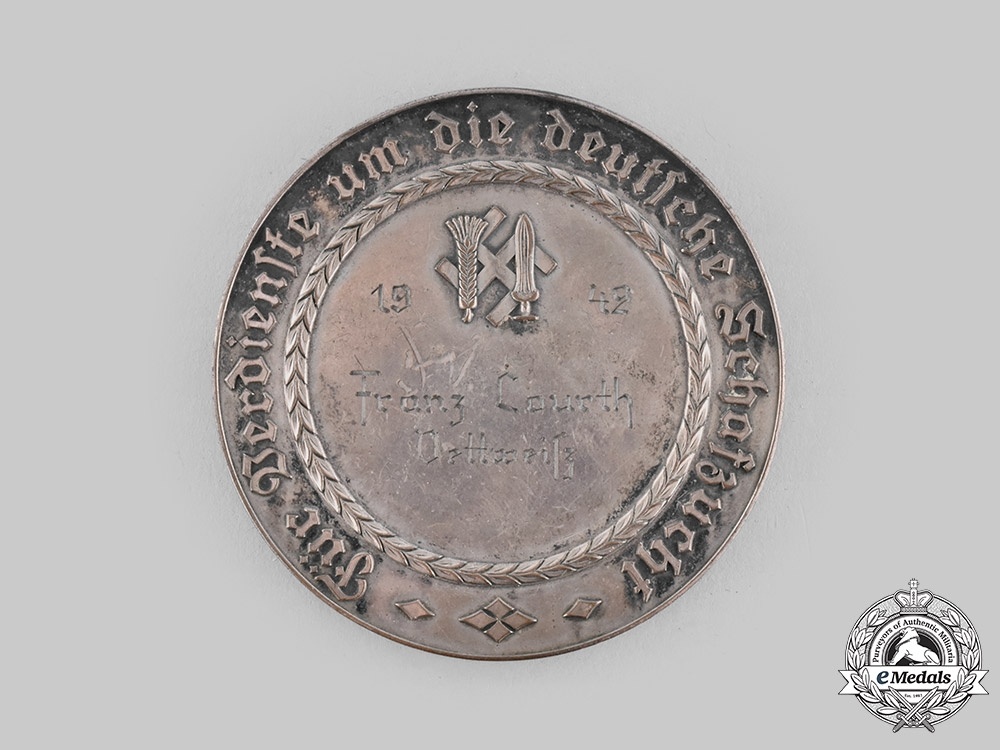 Germany, RNST. A 1942 Reichsnährstand Distinguished Sheep Breeding Medal, with Case, to Franz Courth