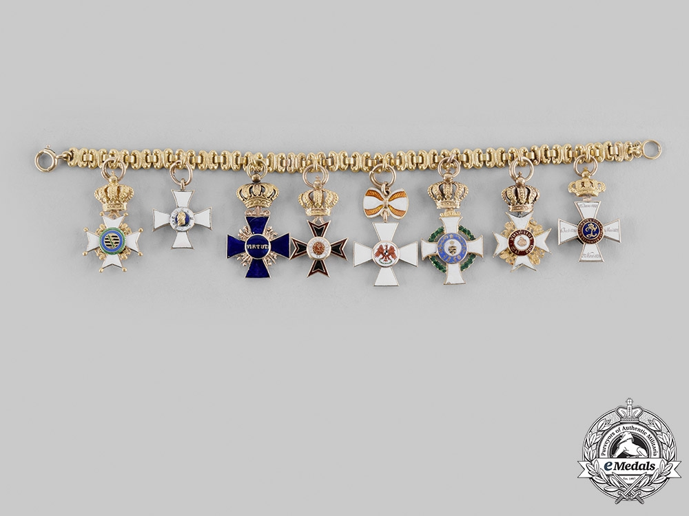 Germany, States. A Fine & Extensive Ladies Miniature Order & Decoration Chain in Gold, c.1890