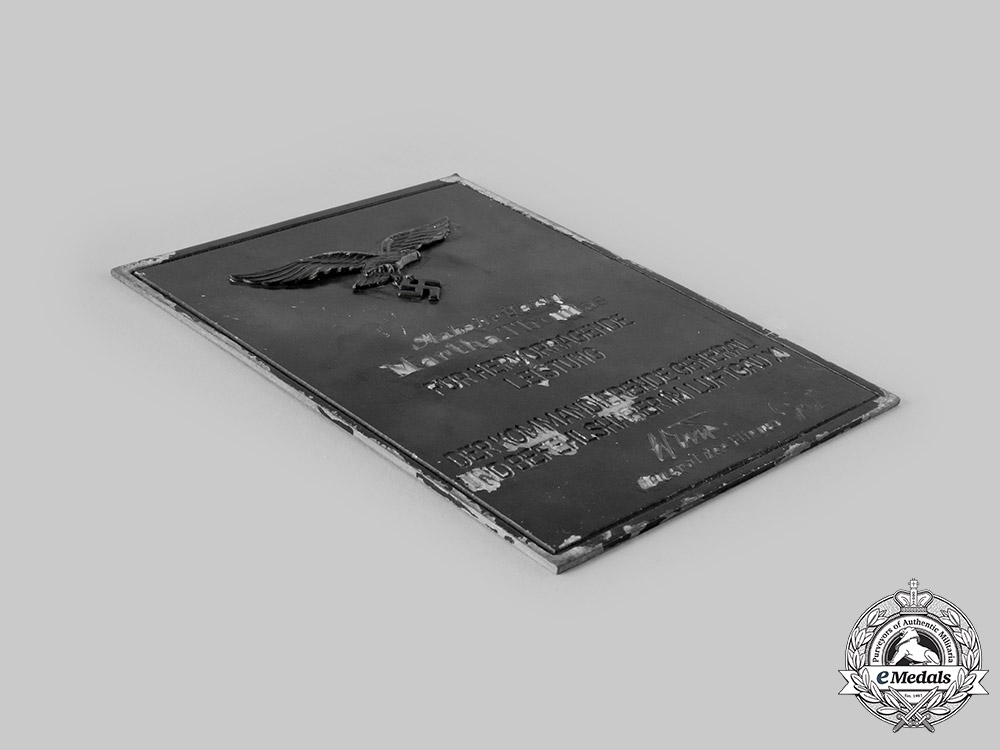 Germany, Luftwaffe. A Luftgau XI Honour Plaque to Martha Thomas