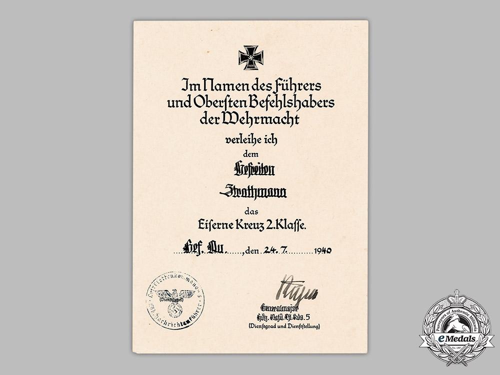 Germany, Luftwaffe. An Iron Cross II Class Award Document To Gefreiter Strathmann
