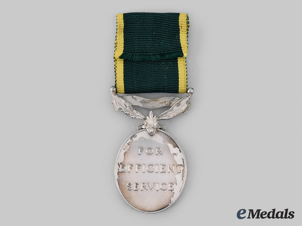 United Kingdom. An Efficiency Medal, to Private J. Craggs, Royal Army Service Corps