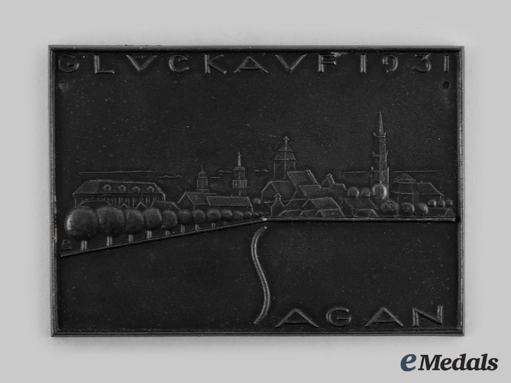 Germany, Weimar Republic. A 1931 Sagan New Year Commemorative Plaque, by Paulinehütte