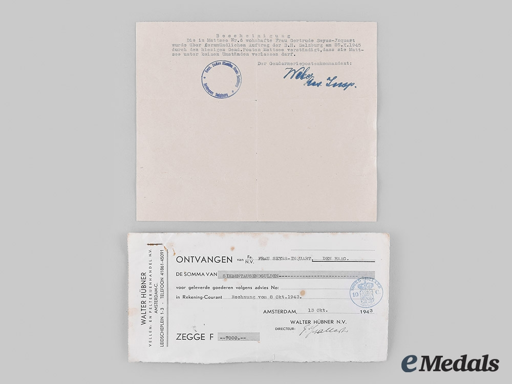 Germany, NSDAP. A Pigmyphone from the Estate of Arthur Seyss-Inquart, with Family Correspondence