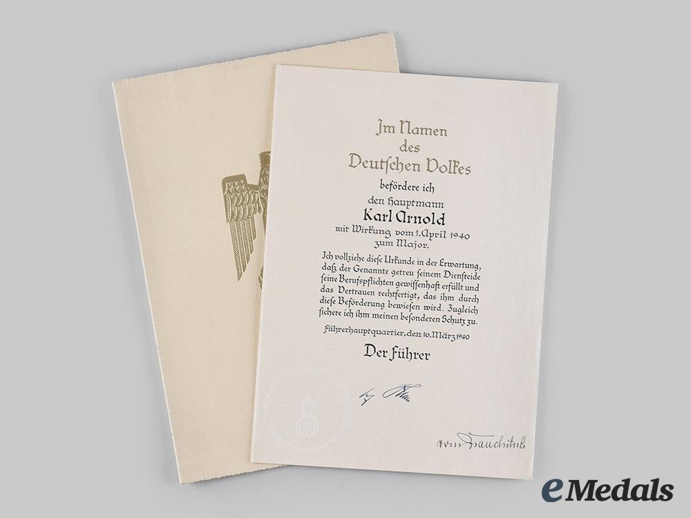 Germany, Heer. A Promotion Document for Hauptmann Karl Arnold, General Walther von Brauchitsch Signature