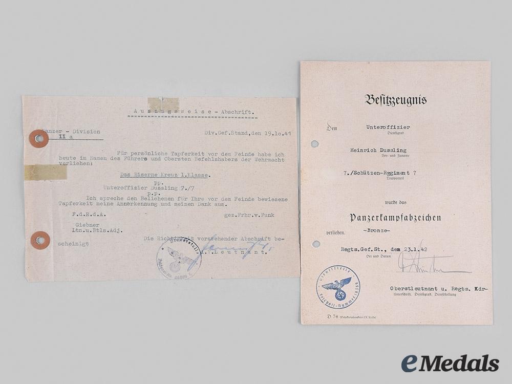 Germany, Heer. A Pair of Award Documents, Schützen-Regiment (Rifle Regiment) 7