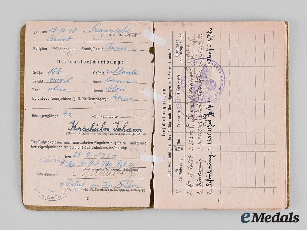 "Germany, SS. A Soldbuch and Award Document to Johann Kaschuba, SS-Gebirgs-Jäger-Regiment 14 (""Prinz Eugen"" )"