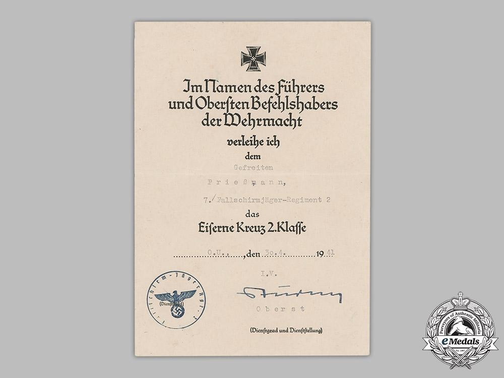 Germany, Luftwaffe. An Iron Cross II Class Document & Bonus Salary Certificate, Fallschirmjäger