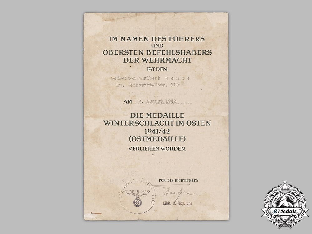 Germany, Heer. An Eastern Front Medal Award Document To Supply Driver Henze, 1942