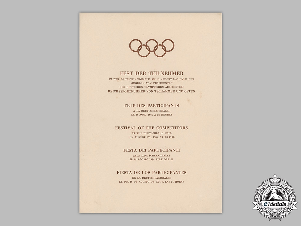 Germany, Olympic Games. A Multilingual Program & Speeches For The Festival Of Competitors Of The 1936 Olympic Games