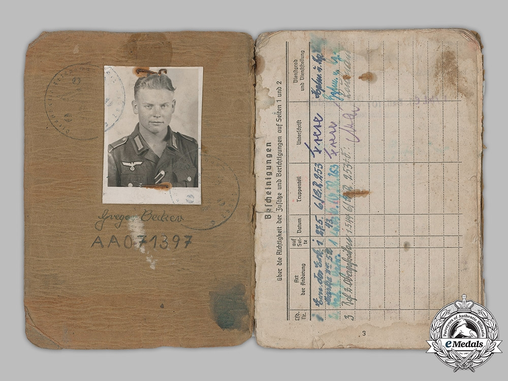 Germany, Heer. A Soldbuch To Infantry Obergefreiter Gregor Becker (CCC)