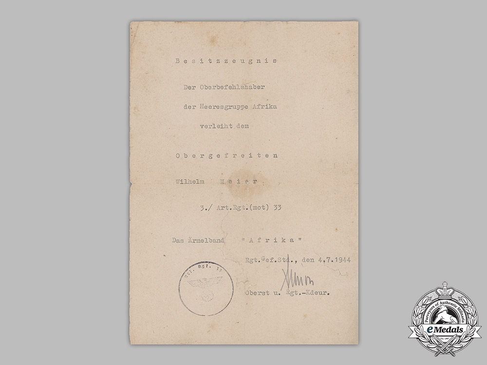 Germany, Heer. An Afrika Cuff Title Award Document To Artillery Obergefreiter Wilhelm Meier, 1944