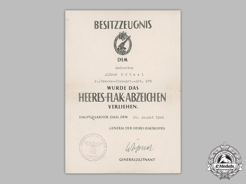 Germany, Heer. An Army Flak Badge Award Document To Gefreiter Alfred Nötzel