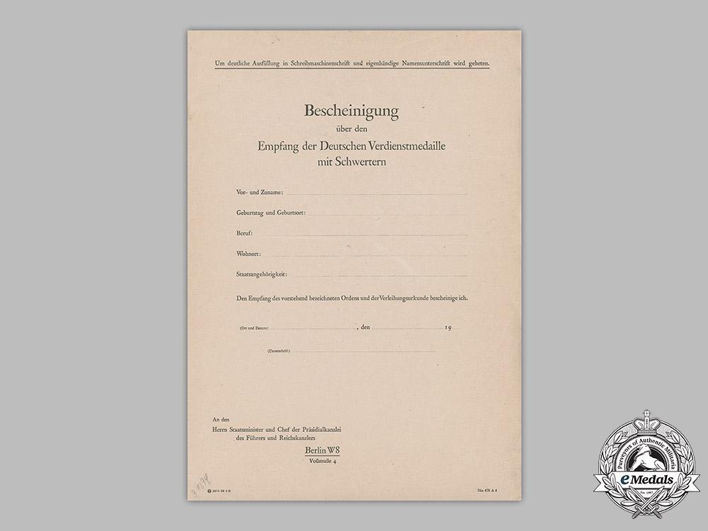 Germany, NSDAP. An Award Document To Spanish Sergeant Don Lucio Munumer Reoyo, 1939
