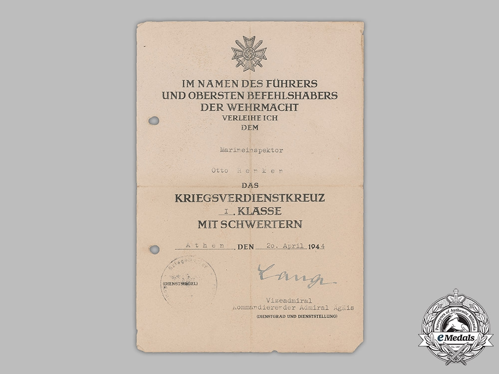 Germany, Kriegsmarine. Award Documents Issued to Marinehilfsinspektor, Issued in Athens