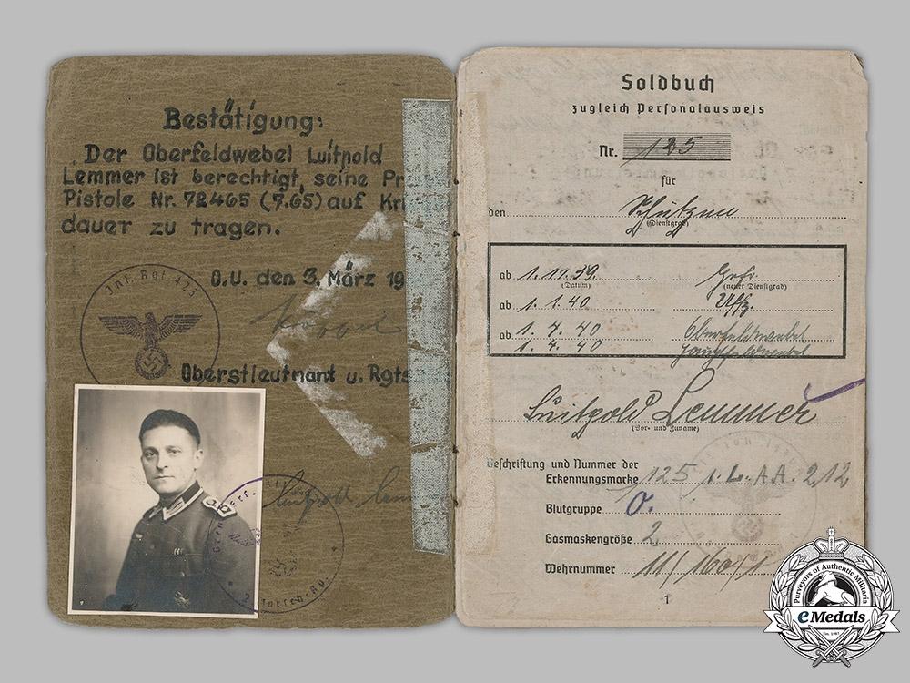 Germany, Heer. A Soldbuch to Infantry Hauptfeldwebel Luitpold Lemmer (KVK1)