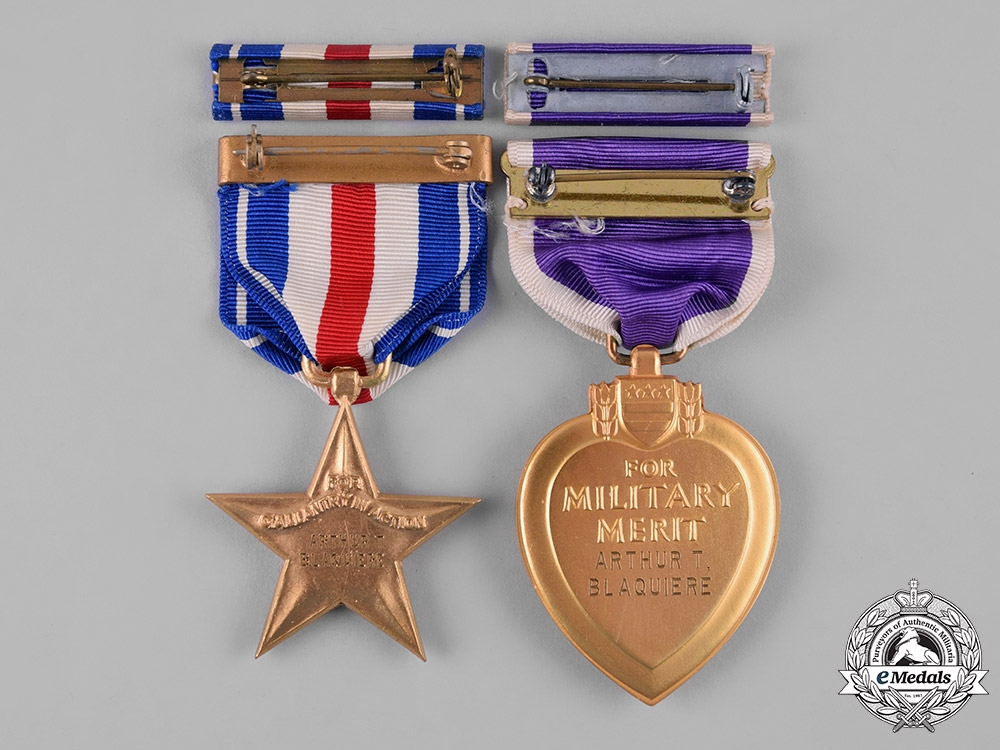 United States. A Silver Star & Purple Heart to Pte Arthur T. Blaquiere, KIA in Luzon, Philippines, 1945