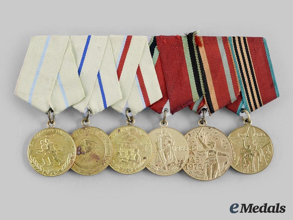 Russia, Soviet Union. A Defence of Odessa, Sebastopol & Kiev Medal Bar