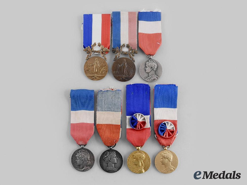 France, III Republic. A Lot of Seven Honour Medals
