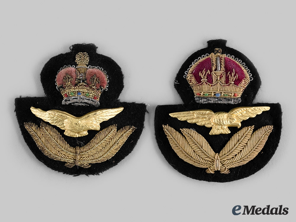 United Kingdom, Canada. King's Crown and Queen's Crown Air Force Officer's Cap Badges